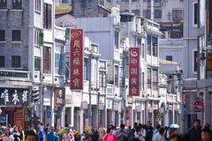 Gatan för shopping för den Shangxia jiuen är den fot- strögen i Guangzhou Arkivfoton