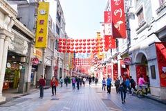 Gatan för shopping för den Shangxia jiuen är den fot- strögen i Guangzhou Arkivfoto