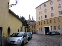 Gatan i Padova Italien Europen som Padua är en liten stad, lokaliserade 38 kilometer västra av Venedig Royaltyfri Fotografi