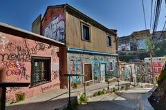 Gatan som klättrar till miradoren Artilleria valparaiso chile Arkivbild