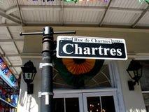 Gatan undertecknar in den franska fjärdedelen för New Orleans ` Arkivbilder