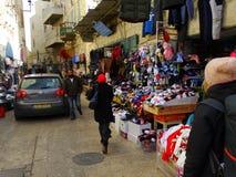 Gataplats av Betlehem, Palestina Israel royaltyfri foto