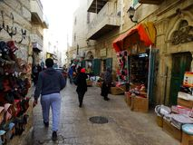 Gataplats av Betlehem, Palestina Israel royaltyfria bilder