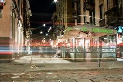 Gataplats av Brera, Milan, Italien Arkivbilder