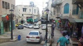 Gataplats Betlehem Palestina arkivbilder