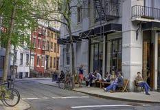 Gataplats, Greenwich by, New York Arkivbilder