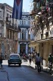 Gataplats, havana, Kuba som är carribean Fotografering för Bildbyråer