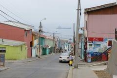 Gataplats i den valparaiso chilen Arkivfoton