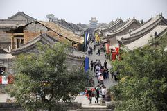 Gataplats i Pingyao den forntida staden, Kina royaltyfria foton