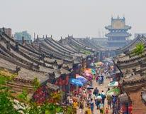 Gataplats i Pingyao i Kina Royaltyfria Foton