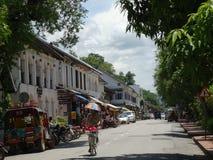 Gataplats på Luang Prabang, Laos Royaltyfria Bilder