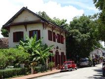 Gataplats på Luang Prabang, Laos Arkivbild