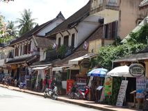 Gataplats på Luang Prabang, Laos Arkivbilder