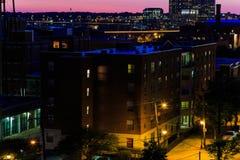 Gataplatser från Libby Hill Richmond Va i aftonen arkivbild