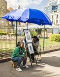 Gataporträttmålare Arkivfoton