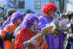 Gataprocession på den tyska karnevalet Fastnacht Arkivfoto