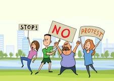 Gataprotest, demonstration Personerna som protesterar är folk med baner i staden parkerar, vektorillustrationen stock illustrationer