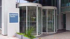 Gatasignagebräde med Goldman Sachs Group, Inc logo byggande modernt kontor Redaktörs- tolkning 3D Royaltyfri Bild