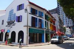 Gatasikt av den Amoy gatan i Singapore Royaltyfri Foto
