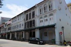 Gatasikt av den Amoy gatan i Singapore Arkivfoto