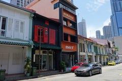 Gatasikt av den Amoy gatan i Singapore Arkivfoton