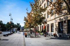 Gatasikt av den centrala delen av Warszawa Royaltyfri Foto