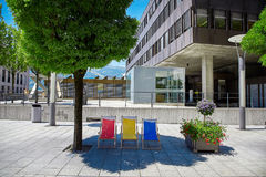 Gatasikt av den Vaduz staden, Liechtenstein Royaltyfria Foton