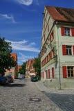 Gatasikt av Dinkelsbuhl, en av de arketypiska städerna på Get arkivfoton