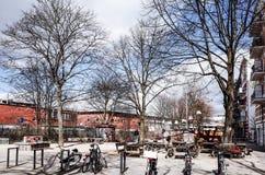 Gatasikt av i stadens centrum Hamburg Arkivbilder