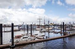 Gatasikt av kryssningskeppet i hamnen av Hamburg, Tyskland Arkivfoton