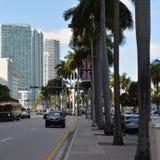 Gatasikt av Miami som är i stadens centrum på Biscayane Blv Royaltyfri Bild