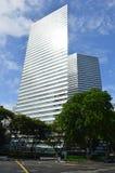 gatasikt av nyckelbyggnaderna Singapore, Asien Arkivbild