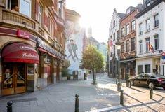 Gatasikt i Bryssel Arkivbilder