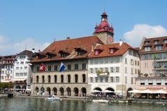 Gatasikt i gammalt stadområde av Lucerne på Juli 10, 2013 Arkivbild
