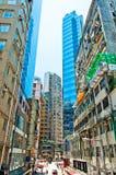 Gatasikt i glåmiga Chai, Hong Kong Fotografering för Bildbyråer