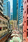 Gatasikt i glåmiga Chai, Hong Kong Royaltyfri Foto