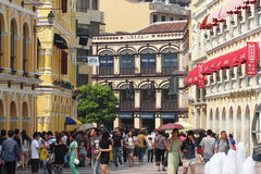 Gatasikt i Macao Royaltyfri Bild