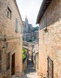 Gatasikt i Urbino, Italien Arkivfoton