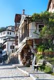 Gatasikt på den Makrinitsa byn av Pelion, Grekland Arkivbilder