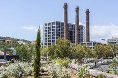 Gatasikt, Paralelo aveny, med lampglas tre, Barcelona Fotografering för Bildbyråer