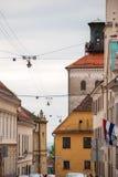 Gatasikten på den Cirilometodska gatan och Lotrscak står högt i Zagre Royaltyfria Bilder