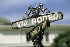 Gatatecken för Rodeodrev, Beverly Hills, CA arkivfoto