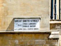 Gatatecken för stora Smith Street, Westminster, London Fotografering för Bildbyråer