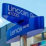 Gatatecken på Lincoln Road i Miami Beach Royaltyfri Foto