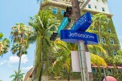 Gatatecken på Lincoln Road i Miami Beach Fotografering för Bildbyråer