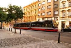 Gatatrans. i Prague Arkivfoto