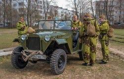 Gatchina,俄罗斯- 2017年5月7日:二战争斗的历史重建  免版税图库摄影