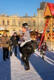 Gatchina,俄罗斯- 2017年1月6日:孩子的圣诞节展示在Gatchina宫殿前面的阅兵场的 库存图片
