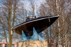 Gatchina Памятник первой русской подводной лодки Стоковые Фотографии RF