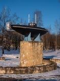 Gatchina, Россия - 27-ое марта 2018: Памятник первой русской подводной лодки Стоковые Фотографии RF